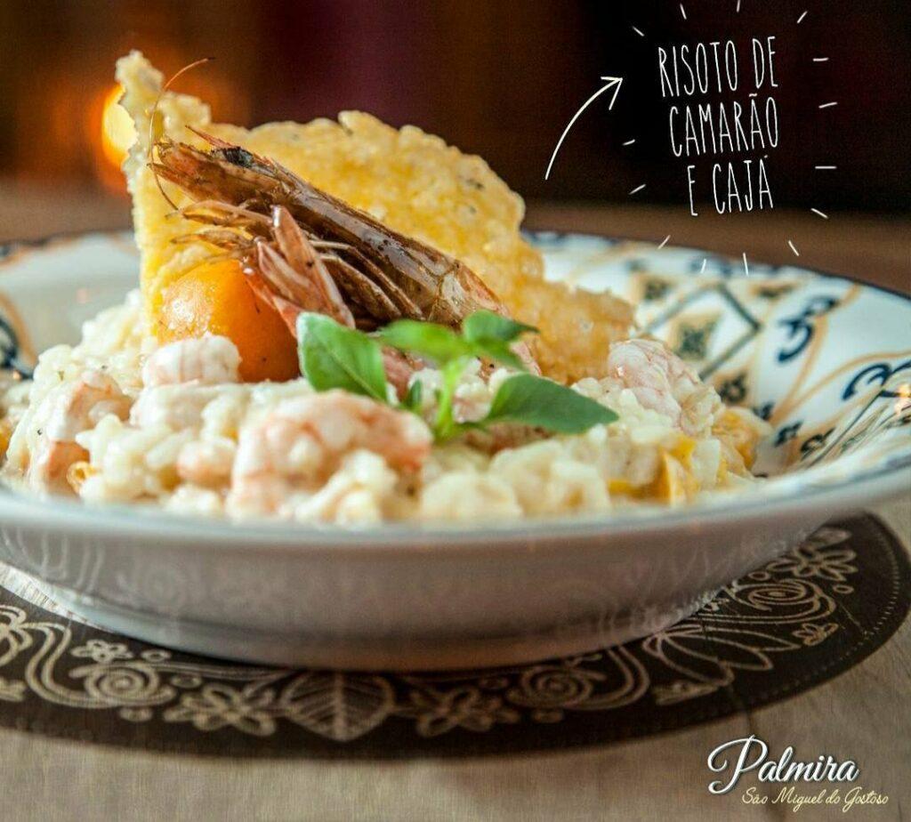 Risoto de camarão e cajá restaurante em São Miguel do Gostoso